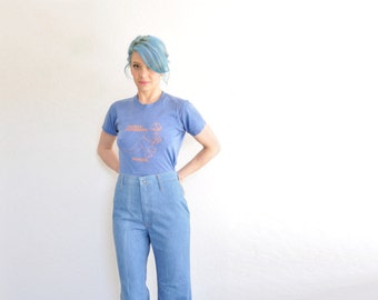 high waist Levi Strauss blue jeans . retro 1970 orange tab wide leg denim pant .medium