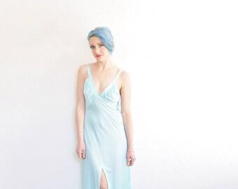 1970 aqua blue maxi slip . boho night gown lingerie . floor length sleep dress .small.medium
