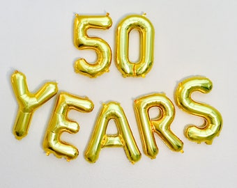 50 YEARS Balloon, 50th Birthday Photo Prop, 50th Anniversary, 50th Bday, Happy 50th, 50 Balloon, 50th Celebration, Gold 50, 50 in Gold