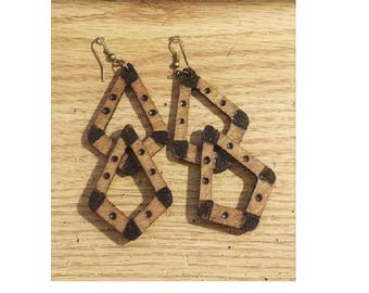 Wood Buckle Geometric Earrings Handmade Statement Ethnic Tribal Afrocentric African mPERFEKtion Earrings for Women by Crittique - #mPER98