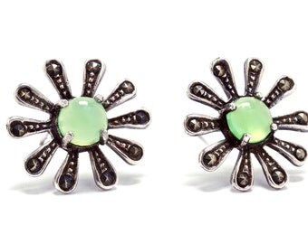 Art Deco Marcasite & Green Chrysoprase Sterling Silver Earrings