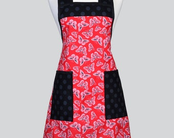 BETTY Retro Chef Womans Apron - Red and Black Butterflies Vintage Inspired Cute Kitchen Cooking Apron with Large Pockets