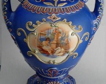 Lady & Swan Moriage Vase German ? VIntage Ceramic Grotto Scene