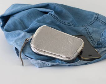 Zipper phone case silver coated leather, coin purse zipper phone case money bag credit card purse- The Myrto Zipper pouch
