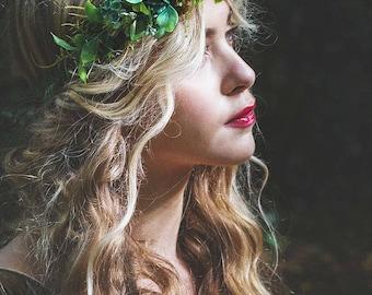 Foilage crown, medieval headband, medieval crown, fern wreath, renaissance crown, fairie crown, faerie crown, woodland headpiece