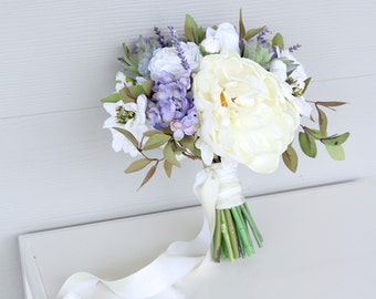 Succulent Wedding Bouquet | Silk Flower Bridal Bouquet | Lilac Hydrangea and Ivory Real Touch Peonies