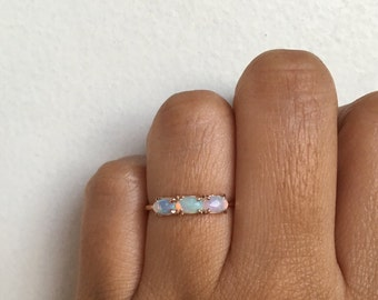 Past Present Future Ring, Opal Ring, Opal Engagement Ring, Opal Wedding Ring, Opal Band, Opal Wedding Band, Three Stone Ring, Trinity Ring