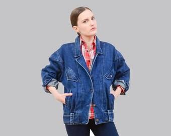 80s Blue Jean Jacket, Denim Bomber Jacket, Oversize Boyfriend Jacket 1980s Slouchy Denim Jacket Medium M