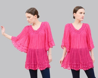 Vintage 70s Pink Cotton Gauze Top | Angel Sleeve | 1970s Sheer Crochet Blouse | 1970s Bohemian Hippie Festival Tunic Top | Small Medium S M