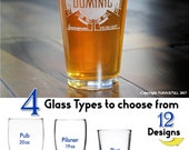 Groomsmen Pint Glasses, Etched Glass, Personalized Gifts for Groomsman, Best Man, Ushers Custom Wedding Party Toasting Glasses