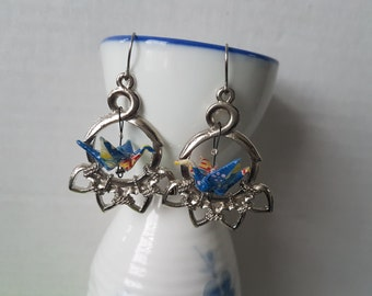 Origami crane earrings of blue paper in silver hoop with hearts