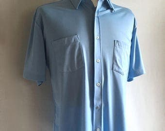 Vintage Men's 70's Disco Shirt, Light Blue, Polyester, Short Sleeve by Sears (XL)