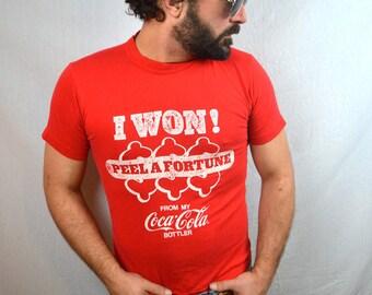 Vintage 1970s 80s Classic Coca Cola Tshirt Tee Shirt