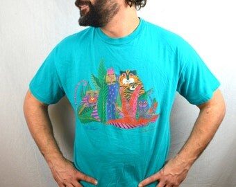 Vintage 90s Laurel Burch Cat Glitter Tee Shirt Tshirt