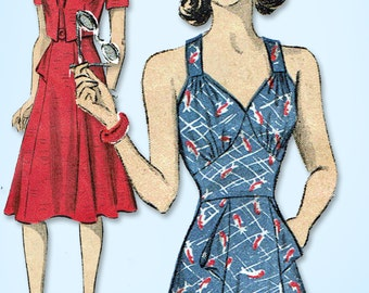 1940s Vintage Du Barry Sewing Pattern 2472 Misses WWII Sun Dress Size 12 30 Bust