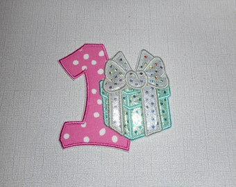 Free Shipping Ready to Ship Number 1 Present Machine Embroidery Iron on applique