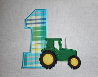 Free Shipping Ready to Ship Number 1 tractor Machine Embroidery Iron on applique