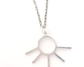 Sterling Silver Sun Eye Lash Necklace