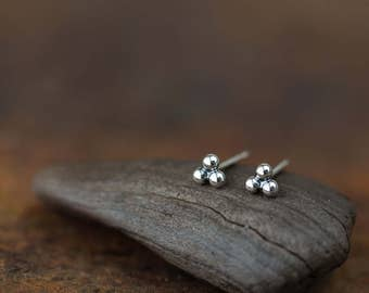 4mm Three Dot Sterling Silver Stud Earrings, connected tiny silver balls, triple bead, minimal everyday earrings