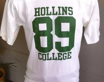 Hollins College Virginia 1980s vintage jersey T-shirt - soft white and heavyweight
