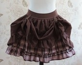 Steampunk skirt clothing pink brown tartan buckles explorer pirate brown underskirt ruffles checks