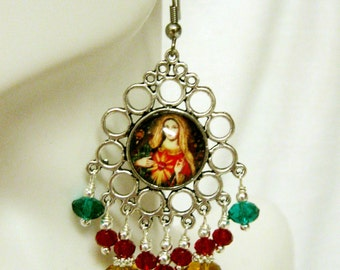 Immaculate heart of Mary chandelier earrings - E0161-005 - Cusco style