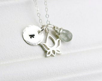 Silver Lotus Necklace - Sterling Silver Lotus Charm - Lotus Jewelry - Namaste Silver Yoga Necklace