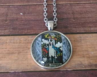 Tarot Card Necklace -- The Tower