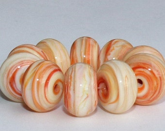 """Handmade Lampwork Beads, 10 Pieces """"Dark Ivory, Coral and Clear"""", Size about 11.1 to 11.9 mm"""