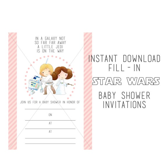 star wars baby shower fill in instant download shower invitations