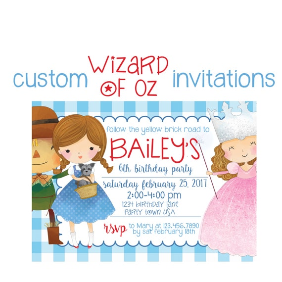 Wizard of Oz Birthday Invitation Custom Party Invite Wicked Witch