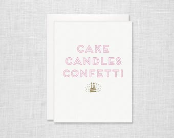 Letterpress Birthday Card - Cake Candles Confetti - Neon Pink
