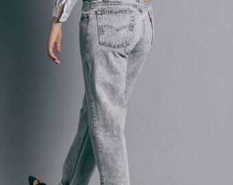 Vintage 80s Levi's Gray Acid Wash High Waist Jeans   8