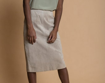 Vintage 80s Tan Suede Leather Pencil Skirt | 0/2