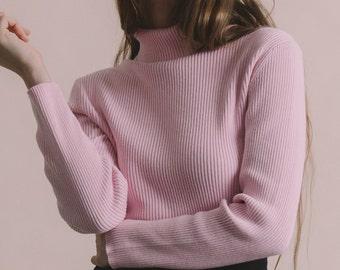 Vintage 90s Pink Cotton Ribbed Knit Turtleneck | M/L