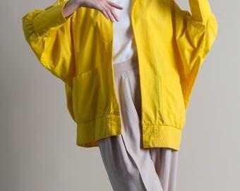 Vintage 80s Yellow Jacket / Cotton Top / Batwing Jacket