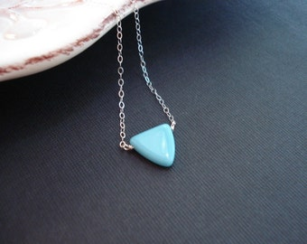 Triangle Necklace in Sterling Silver December Birthstone, Minimalist Layered Necklace Turquoise Blue Glass Pendant Geometric Delicate Dainty