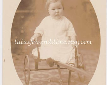 Vintage Real Photo Postcard - RPPC - Studio Portrait of Baby in a Cart