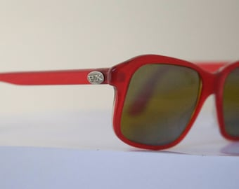 RARE  PX Vuarnet Sunglasses // Vintage Designer Frames // Paris Pouilloux // Cherry Red  // France