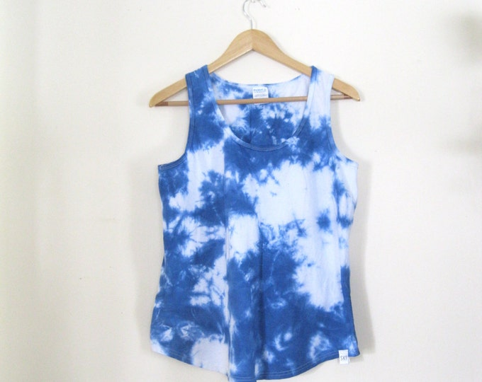Hand-dyed Blue sky and Clouds womens tank top / Handmade tie dye Dreamer womens hand dyed Festival tank top