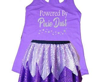 Vidia Running Costume, Powered by Pixie Dust, Vidia Costume, Fairy Shirt, Fairy Costume, Sparkle Skirt, Running Skirt, Tinkerbell Costume