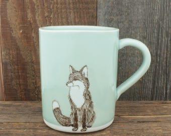 Large Celadon Fox Mug. 12 oz Sea Green Coffee Cup. Handmade Porcelain High Fired Mug, Traditional Celadon by SKT Ceramics on Etsy