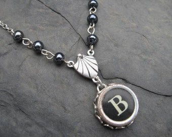 Initial Necklace - Typewriter Key Necklace - Beaded Beauty - Letter B