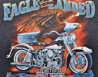 Vintage 80s 1987 HARLEY DAVIDSON Motorcycles 3D EMBLEM Eagle Has Landed Spartanburg South Carolina Paper Thin T Shirt L Very Rare