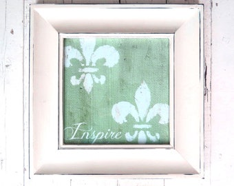 Fleur De Lis Art, Inspirational Art, Inspire, Framed Print, Paris Chic, Green Art, Shabby Cottage Chic, French Cottage Decor, White Frame