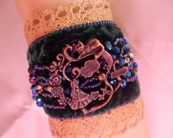 Blue Sparkle Alice In Wonderland Bracelet