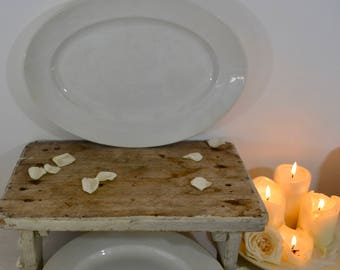 19th Century Large Oval Porcelain Platter(36cm x 26cm) -  Digoin Sarreguemines 1875-1900 White Ironstone Platter -French Porcelain