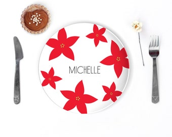 Holiday Dinnerware Sets Christmas Poinsettia Flower Kids Name Plate Personalized Kids Gift  Holiday Decor Custom Personalized Plate