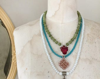 varied~upcycled beaded necklace set, beaded trio, beaded necklaces, glass beads, dyed jade, repurposed, upcycled, reclaimed jewelry, boho