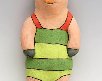 Swimmer Pig Ceramic Wall Art Sculpture